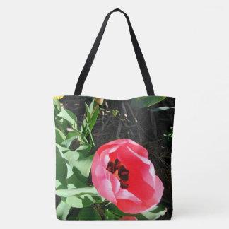 Bolsa Tote A sacola cor-de-rosa da tulipa