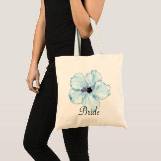 Bolsa Tote A sacola da noiva tropical da arte azul do