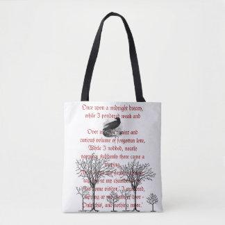 Bolsa Tote A sacola do poema do vintage do corvo