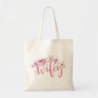Bolsa Tote A sacola floral cor-de-rosa de Wifey Noiva-À-Está