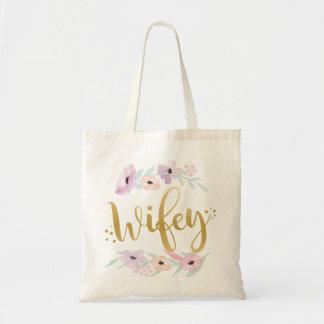 Bolsa Tote A sacola floral de Wifey Noiva-À-Está artigo do