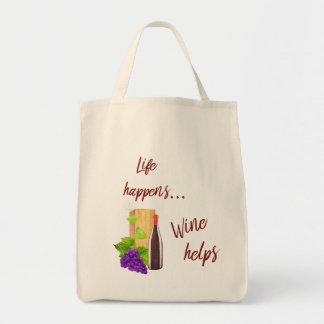 Bolsa Tote A vida acontece amantes de vinho da tipografia das