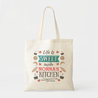 Bolsa Tote A vida é a cozinha de Nonna interno doce