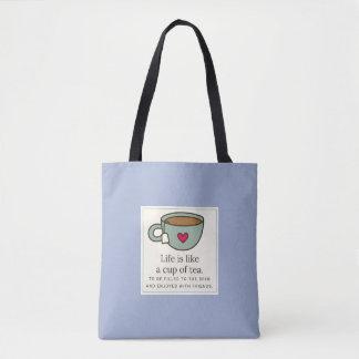 Bolsa Tote A vida é como um copo da sacola do chá