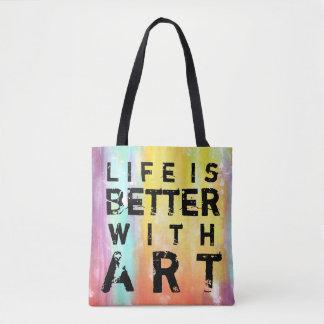 Bolsa Tote A vida é melhor com fundo colorido da arte