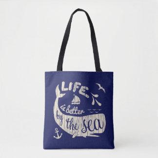 Bolsa Tote A vida é melhor pela sacola náutica do mar