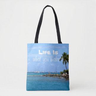 Bolsa Tote A vida é o que você faz lhe a sacola