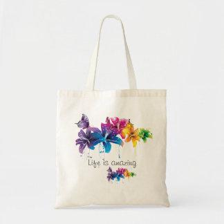 """Bolsa Tote A """"vida é"""" sacola feliz SURPREENDENTE"""
