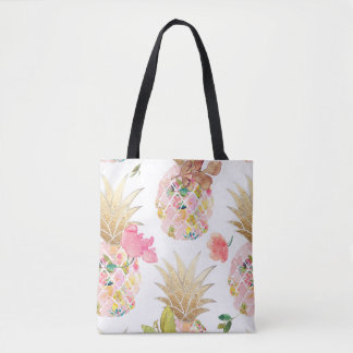 Bolsa Tote Abacaxi de PixDezines Aloha+Aguarela floral