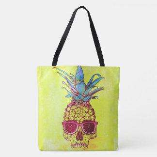 Bolsa Tote abacaxi do crânio dos óculos de sol por todo o