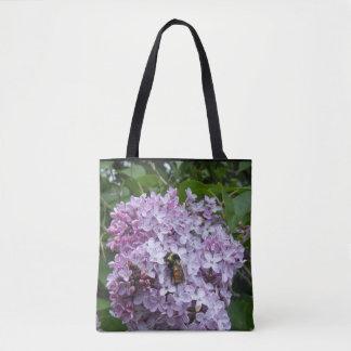Bolsa Tote Abelha ocupada em um Lilac