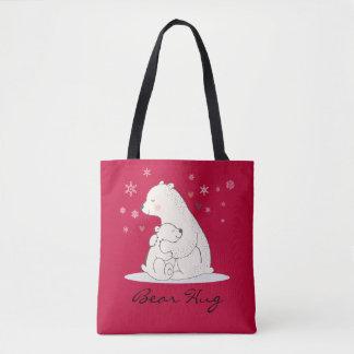 Bolsa Tote Abraço de urso - ursos, corações, e flocos de neve