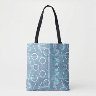 Bolsa Tote Abstrato azul e branco da luz - de Monoprint