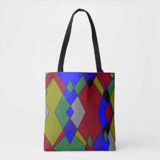 Bolsa Tote Abstrato colorido retro do diamante