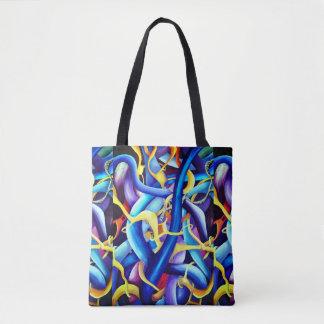 Bolsa Tote Abstrato contemporâneo do azul - ilusão da