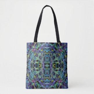 Bolsa Tote Abstrato geométrico em verde, roxo, azul, preto