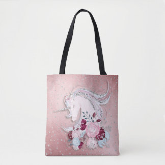 Bolsa Tote Acentos cor-de-rosa & de prata do unicórnio bonito
