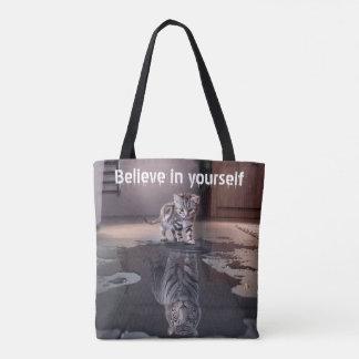 """Bolsa Tote """"Acredite em o senhor mesmo"""" toda sobre - imprima"""