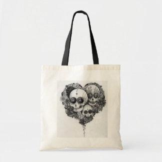 Bolsa Tote adoce o saco do coração da flor preta & branca do