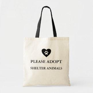 """Bolsa Tote """"Adote por favor sacola dos animais do abrigo"""""""