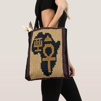 Bolsa Tote Africano Adinkra de Ankh e Crochet egípcio dos