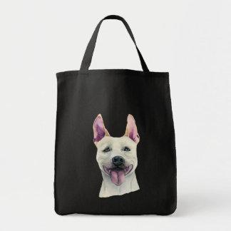 Bolsa Tote Aguarela branca do cão de Staffordshire bull