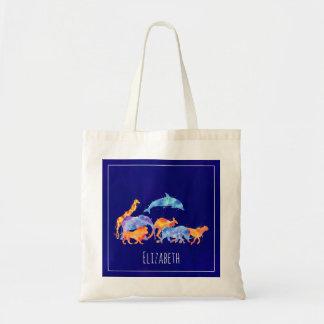 Bolsa Tote Aguarela colorida do rebanho do animal selvagem