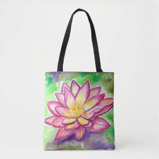 Bolsa Tote Aguarela cor-de-rosa do lírio de água