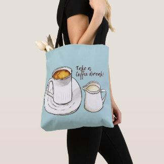 Bolsa Tote Aguarela da ruptura de café e ilustração da tinta
