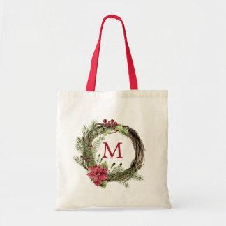 Bolsa Tote Aguarela do Natal | - grinalda floral do Natal