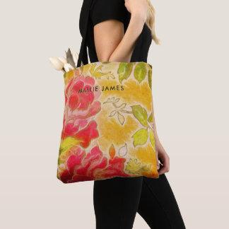 Bolsa Tote Aguarela feminino floral do rosa do vintage com