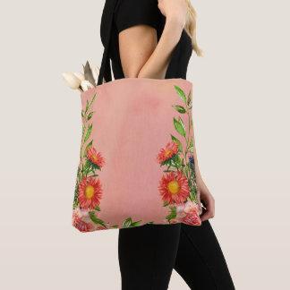 Bolsa Tote Aguarela floral da cor do pêssego