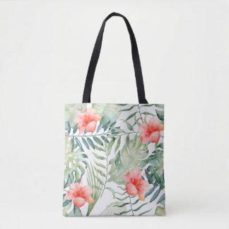 Bolsa Tote Aguarela floral do hibiscus tropical das folhas