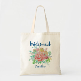 Bolsa Tote Aguarela floral personalizada dama de honra do