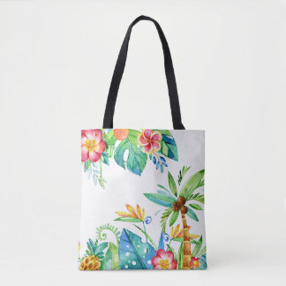 Bolsa Tote Aguarela floral tropical