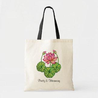 Bolsa Tote Aguarela Lotus cor-de-rosa com botões & folhas