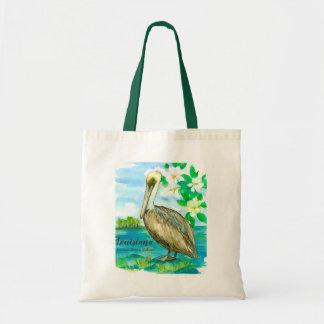 Bolsa Tote Aguarela oriental do pelicano de Louisiana Brown