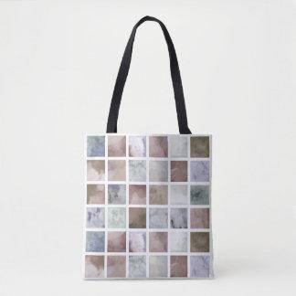 Bolsa Tote Aguarela. Quadrados bege e cinzentos.