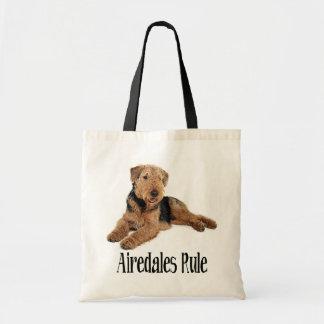 Bolsa Tote Airedale Terrier Brown e cão de filhote de