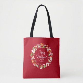 Bolsa Tote Alegre bonito pouca sacola do Natal |