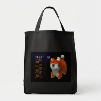 Bolsa Tote Algodão 2018 do ano do cão da arte do filhote de
