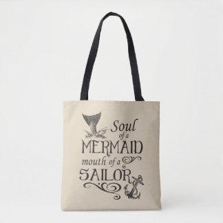 Bolsa Tote Alma de uma sereia, boca de um marinheiro