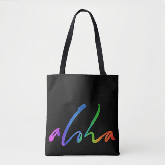 Bolsa Tote Aloha - rotulação tropical - Havaí preto Hawai'i