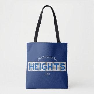 Bolsa Tote Alturas de Houston azuis e azulejo branco