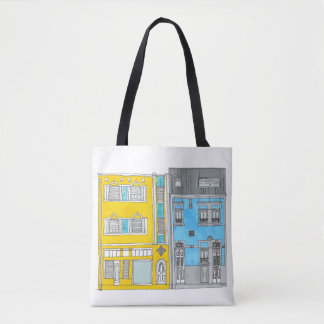 Bolsa Tote Amarelo e azul abriga a sacola da ilustração
