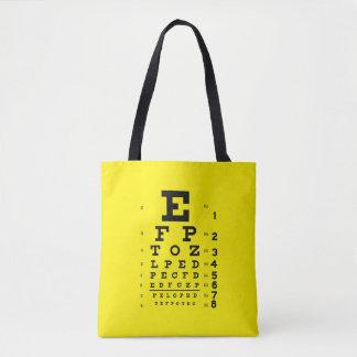 Bolsa Tote Amarelo retro da carta de olho do estilo do pop