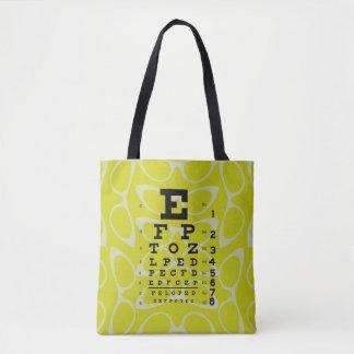 Bolsa Tote Amarelo retro dos olhos de gato da carta de olho