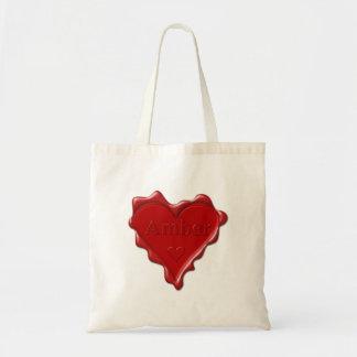 Bolsa Tote Ambarino. Selo vermelho da cera do coração com