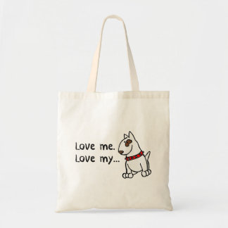 Bolsa Tote Ame-me amor meu saco de bull terrier do inglês do