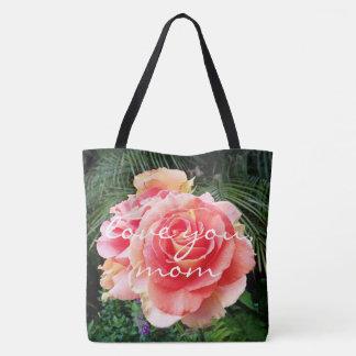 """Bolsa Tote """"Ame-o, foto do fim-acima do rosa do rosa das"""
